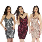 AL3 Womens Sequin Padded Plunge V Neck Sexy Bodycon Party Dress Celeb TOWIE