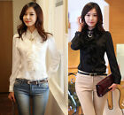 Women's Lady Long Sleeve Stand Collar Button Shirt Chiffon Career OL Tops Blouse