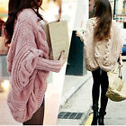 Womens Warm Knitted Cardigan Sweater Batwing Thick Casual Loose Coat Tops New