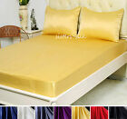 1~3 pcs 30M/M Heavy Weight Silk Fitted Sheet Pillowcases Sets Full Multicolor
