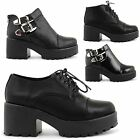 NEW LADIES CASUAL MID HEEL PLATFORM LACE UP CUT OUT ANKLE BOOTS SHOES SIZE 3-8