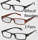 3 Bifocal Reader Reading Glasses Lot Value Combo Pack Men Women Unisex Optical