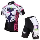 Cat girl Cycling Jersey Bike Bicycle Clothing Short Sleeve Suit+Pant Sets Gel