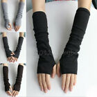 Unisex Winter Soft Long Fingerless Knit Gloves Warm Wrist Mittens Wrist Warmers