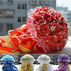 Silk Rose Bridal Bouquet Pearls Lace White Gold Ribbon Party Posy Wedding Decor