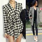 Women's Korean Houndstooth Plaid Check Print Open Peplum Coat Jacket Cardigan JU