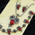 Vintage Silver CZ Owl Red Turquoise Stone Earrings Bracelet Necklace Jewelry Set