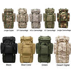 65L Tactical Travel Backpack Outdoors Camping Hiking Bag Metal Frame+ Rain Cover