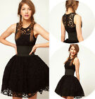 New Black Sleeveless Casual Summer Lace Cocktail Party Evening Mini Bandag Dress