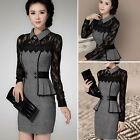 New Women Lace Long Sleeve Bodycon Work Party Evening Cocktail Mini Pencil Dress
