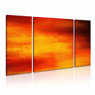 MODERN ABSTRACT ART Red Orange Illusions Canvas Framed Print ~ 3 Panels