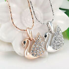 Swan shape Pendant Necklace Crystal 18K Rose White Gold Plated