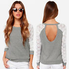 Women Ladies Loose Crew Neck Long Sleeve Lace Shirts Blouse Top T-shirt