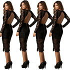 New Ladies Women Fashion Sexy Lace Clubwear Hollow Out Backless Party Lady Dress