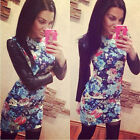 Fashion Women Long Sleeve Slim Leather Patchwork Floral Print Dress Reliable