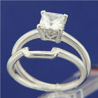 0.71 CT Clear Solitaire CZ Engagement Wedding 925 Sterling Silver Band Ring Set