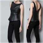 Women High Quality Boutique Back Deep V Crewneck Vest Faux Leather Tops LOUK