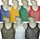 NEW MEN'S UNISEX 100% COTTON STRING VEST TOP MESH FISH NET: M L XL - 8 COLOURS