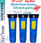 "Big Blue 20"" x 4.5"" BB whole house /well / Lake water filter system Iron GAC CTO"