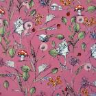 FIELD MICE CORAL PINK  MAKOWER INPRINT WILDLIFE 100% COTTON FABRIC MOUSE