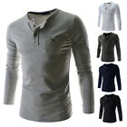 New Arrival Mens Long Sleeve Slim Fit Crew Neck T-Shirt Casual Top Henley Shirts