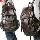 UK New Fashion Mens Faux Leather Casual Rucksack Backpack Bookbag Travel Satchel