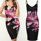 Ladies Celeb Keegan Cami Floral Print Women's Knee Length Midi Bodycon Dress