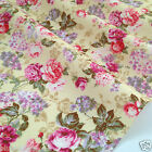 per 1/2 metre/FQ LEMON vintage floral dressmaking/craft fabric 100% COTTON