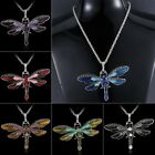 50% OFF New Fashion Dragonfly Pendant Necklace Chain Silver Crystal Rhinestone