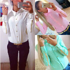 Womens OL Button Down Collar Slim Chiffon T Shirt Blouse Zipper Long Sleeve Tops