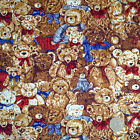 per 1/2 metre/FQ Brown teddies /bear  craft / dressmaking fabric 100% COTTON