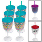 6 Acrylic 13oz Wine Margarita Glasses Double Wall Lid Straw Outdoor Party Print