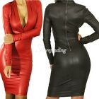 Women's Sexy Plunging V-neck Long-sleeve Leather Dress Slim Bodycon Dress