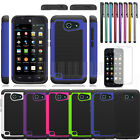 Rugged Hybrid Armor Hard Case Cover For AT&T Huawei Tribute Fusion 3 Y536A1+LCD