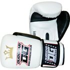 WHITE 'RAJA' REXINE LEATHER MUAY THAI BOXING TRAINING & SPARRING GLOVES