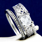 2.10 CT Clear CZ Engagement Brass Wedding 316L Stainless Steel Band Ring Set