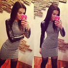 Sexy Ladies Casual PU Long Sleeve Party Evening Cocktail Plaid Mini Dress Slim