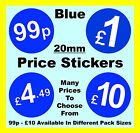 20mm Blue Price Point Shop Stickers POS / Sticky Labels £1, £1.99, £2, £3, £5