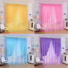 1PC Rose Tulle Window Screens Door Balcony Curtain Panel Sheer Scarfs Reliable