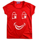 Boys Girls Red T Shirt Kids Smiley Face Top Short Sleeve New Age 3 - 12 Years