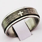 New Religious 316L Stainless Steel Cross Scripture Women Mens Black Spinner Ring