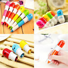 2X Retractable Lovely Face Expression Pill-Style Capsule Ball Point Pen Kids BL