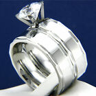 Women's 2.04 CT Solitaire CZ Engagement Stainless Steel Wedding Bridal Ring Set