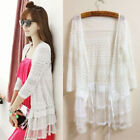 Womens Boho Lace Floral Crochet Slim Long Cardigan Flounce Coat Top Kaftan Dress