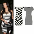 WOMENS LADIES SEXY OFF SHOULDER PARTY BODYCON STRIPED DRESS NEW UK SIZE 8 - 14