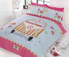 RETRO HIPPY VW VAN DUVET COVER BEDDING VOLKSWAGON BEDDING QUILT SET PINK BLUE
