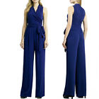 May&Maya Women's Warp Front Wide-cut leg Jumpsuit Playsuit Pants With Bow Tie
