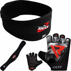 RDX Weight Lifting BodyBuilding Gloves With Belt Gym Strap Training Back Support