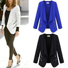 Women Ladies Career OL Slim Solid Coat Suit Jacket Zip Up Blazer Casual Cardigan