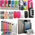 Shiny Diamond Wallet Flip Leather Case Cover For Apple iPhone Models Phones
